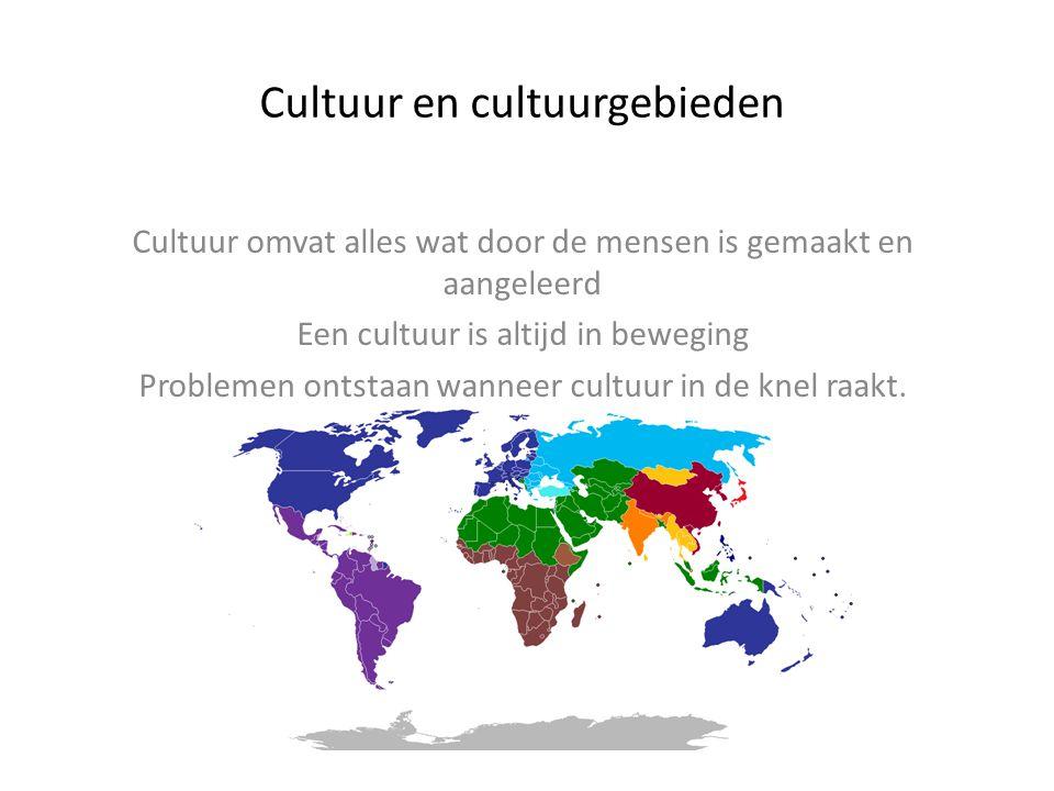 Cultuur en cultuurgebieden Cultuur omvat alles wat door de mensen is gemaakt en aangeleerd Een cultuur is altijd in beweging Problemen ontstaan wannee