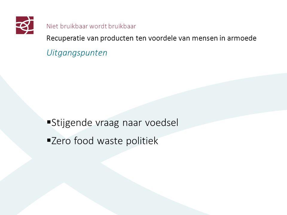 Niet bruikbaar wordt bruikbaar Recuperatie van producten ten voordele van mensen in armoede Uitgangspunten  Stijgende vraag naar voedsel  Zero food waste politiek