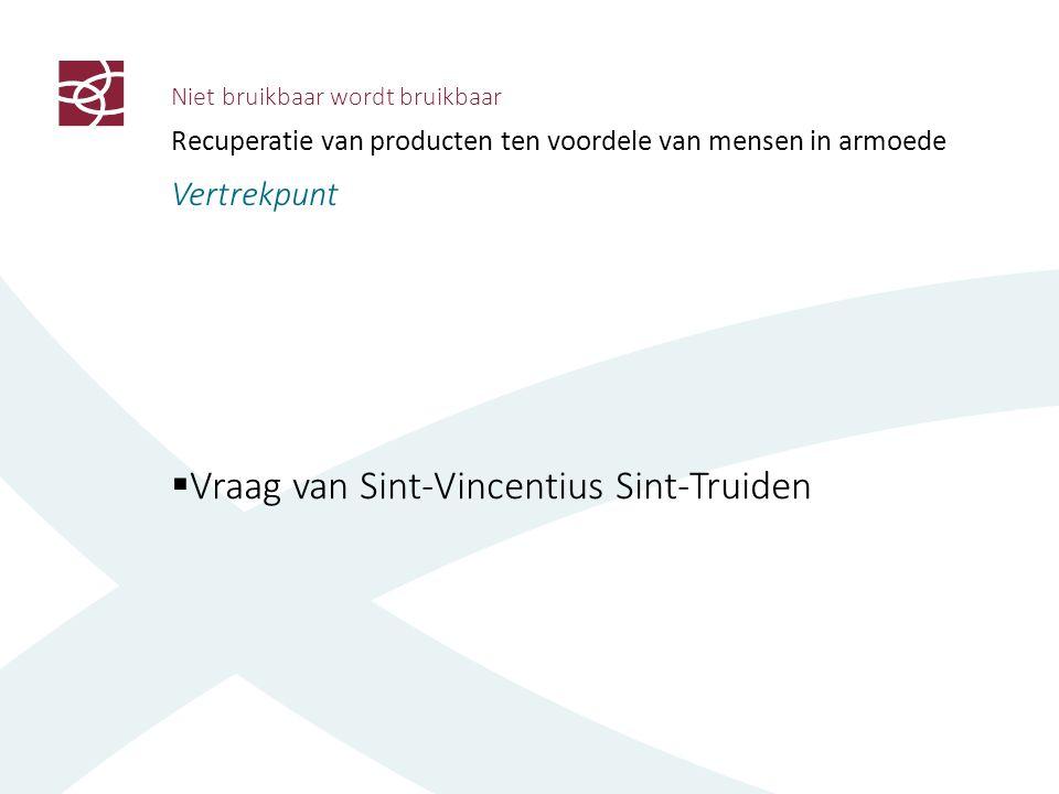 Niet bruikbaar wordt bruikbaar Recuperatie van producten ten voordele van mensen in armoede Vertrekpunt  Vraag van Sint-Vincentius Sint-Truiden  Partners aan tafel op initiatief van Minister Lieten