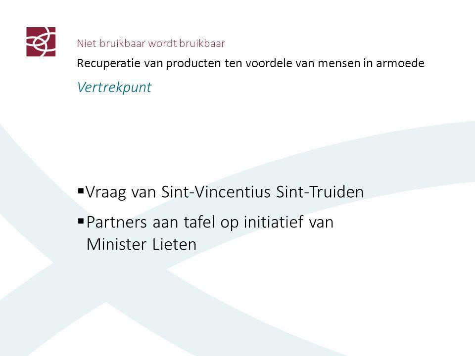 Niet bruikbaar wordt bruikbaar Recuperatie van producten ten voordele van mensen in armoede Vertrekpunt  Vraag van Sint-Vincentius Sint-Truiden  Par