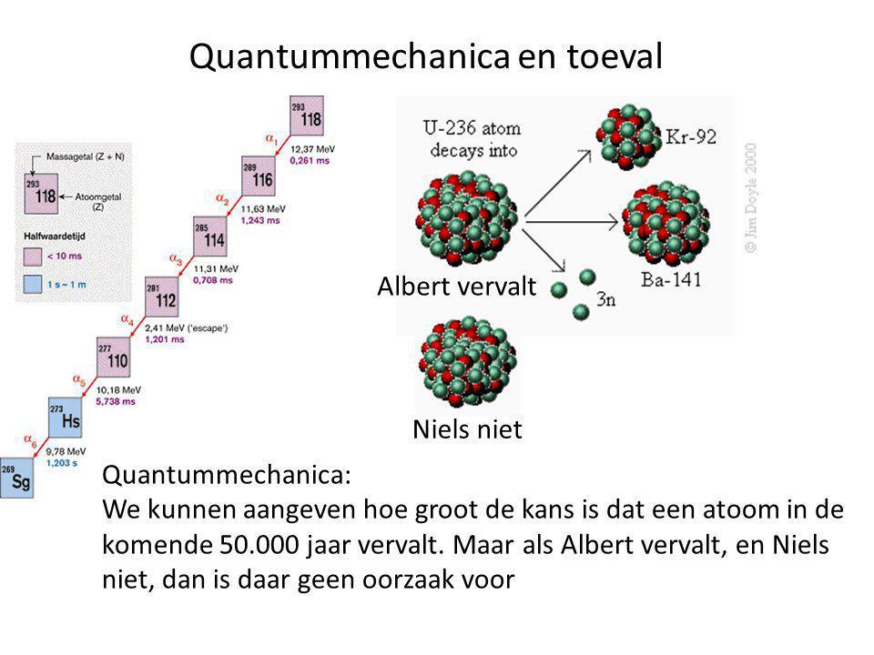 Quantummechanica en toeval Albert vervalt Niels niet Quantummechanica: We kunnen aangeven hoe groot de kans is dat een atoom in de komende 50.000 jaar vervalt.