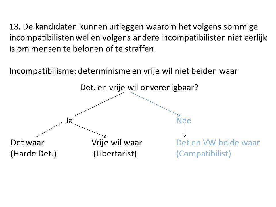 13. De kandidaten kunnen uitleggen waarom het volgens sommige incompatibilisten wel en volgens andere incompatibilisten niet eerlijk is om mensen te b