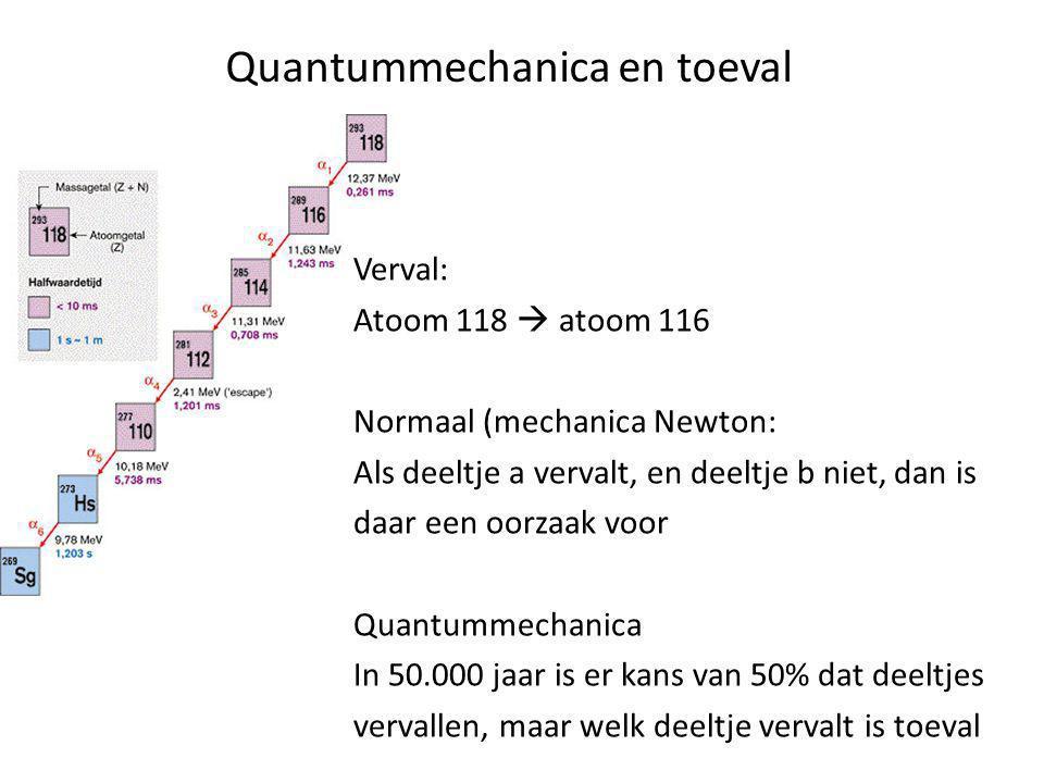 Quantummechanica en toeval Verval: Atoom 118  atoom 116 Normaal (mechanica Newton: Als deeltje a vervalt, en deeltje b niet, dan is daar een oorzaak voor Quantummechanica In 50.000 jaar is er kans van 50% dat deeltjes vervallen, maar welk deeltje vervalt is toeval