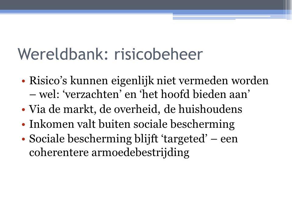Wereldbank: risicobeheer Risico's kunnen eigenlijk niet vermeden worden – wel: 'verzachten' en 'het hoofd bieden aan' Via de markt, de overheid, de huishoudens Inkomen valt buiten sociale bescherming Sociale bescherming blijft 'targeted' – een coherentere armoedebestrijding