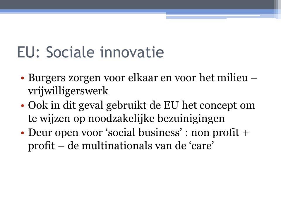 EU: Sociale innovatie Burgers zorgen voor elkaar en voor het milieu – vrijwilligerswerk Ook in dit geval gebruikt de EU het concept om te wijzen op noodzakelijke bezuinigingen Deur open voor 'social business' : non profit + profit – de multinationals van de 'care'