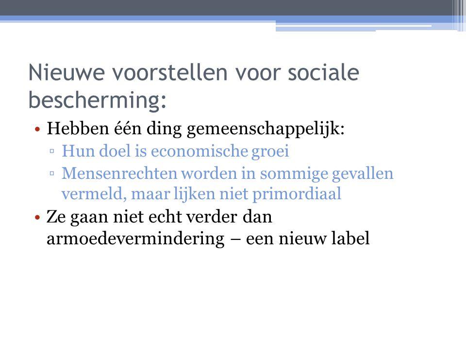 Nieuwe voorstellen voor sociale bescherming: Hebben één ding gemeenschappelijk: ▫Hun doel is economische groei ▫Mensenrechten worden in sommige gevall