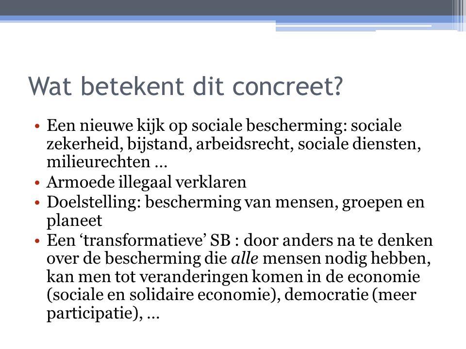 Wat betekent dit concreet? Een nieuwe kijk op sociale bescherming: sociale zekerheid, bijstand, arbeidsrecht, sociale diensten, milieurechten … Armoed