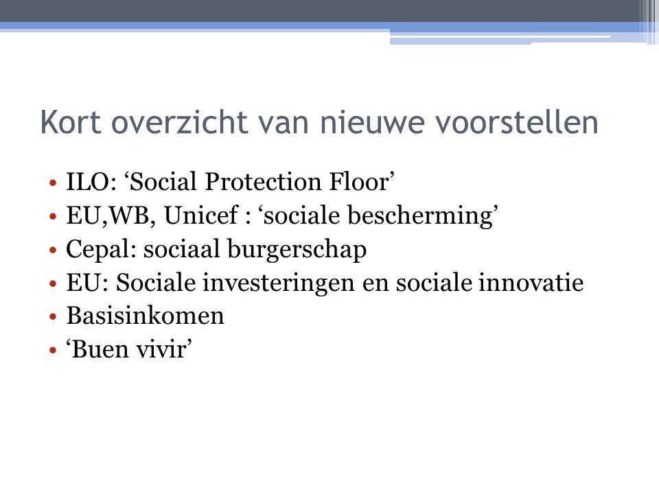 Kort overzicht van nieuwe voorstellen ILO: 'Social Protection Floor' EU,WB, Unicef : 'sociale bescherming' Cepal: sociaal burgerschap EU: Sociale investeringen en sociale innovatie Basisinkomen 'Buen vivir'
