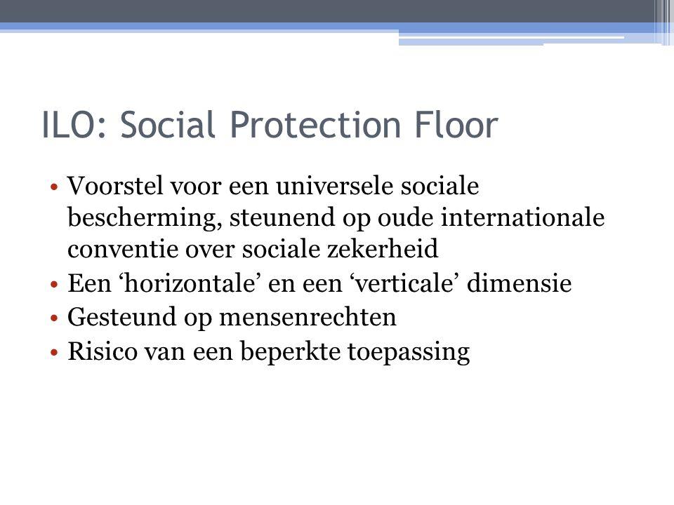 ILO: Social Protection Floor Voorstel voor een universele sociale bescherming, steunend op oude internationale conventie over sociale zekerheid Een 'horizontale' en een 'verticale' dimensie Gesteund op mensenrechten Risico van een beperkte toepassing