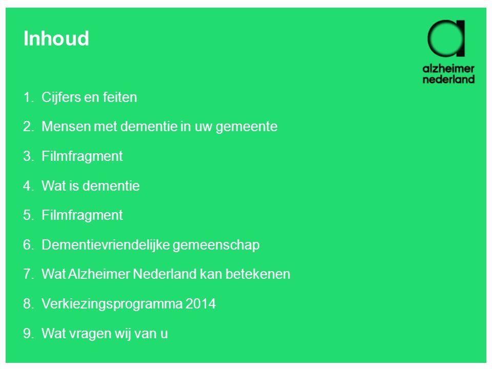 Inhoud 1.Cijfers en feiten 2.Mensen met dementie in uw gemeente 3.Filmfragment 4.Wat is dementie 5.Filmfragment 6.Dementievriendelijke gemeenschap 7.W