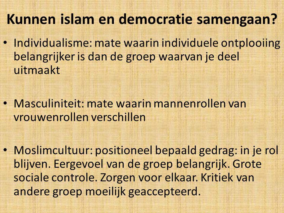 Kunnen islam en democratie samengaan? Individualisme: mate waarin individuele ontplooiing belangrijker is dan de groep waarvan je deel uitmaakt Mascul