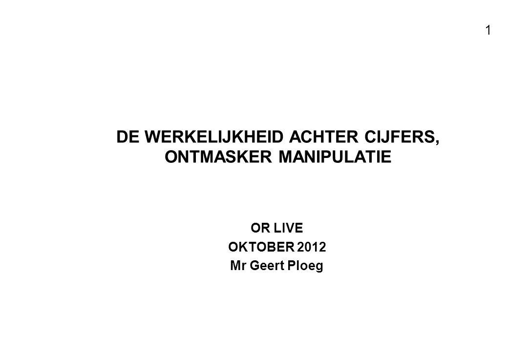 Voor resultaten met mensen 1 DE WERKELIJKHEID ACHTER CIJFERS, ONTMASKER MANIPULATIE OR LIVE OKTOBER 2012 Mr Geert Ploeg