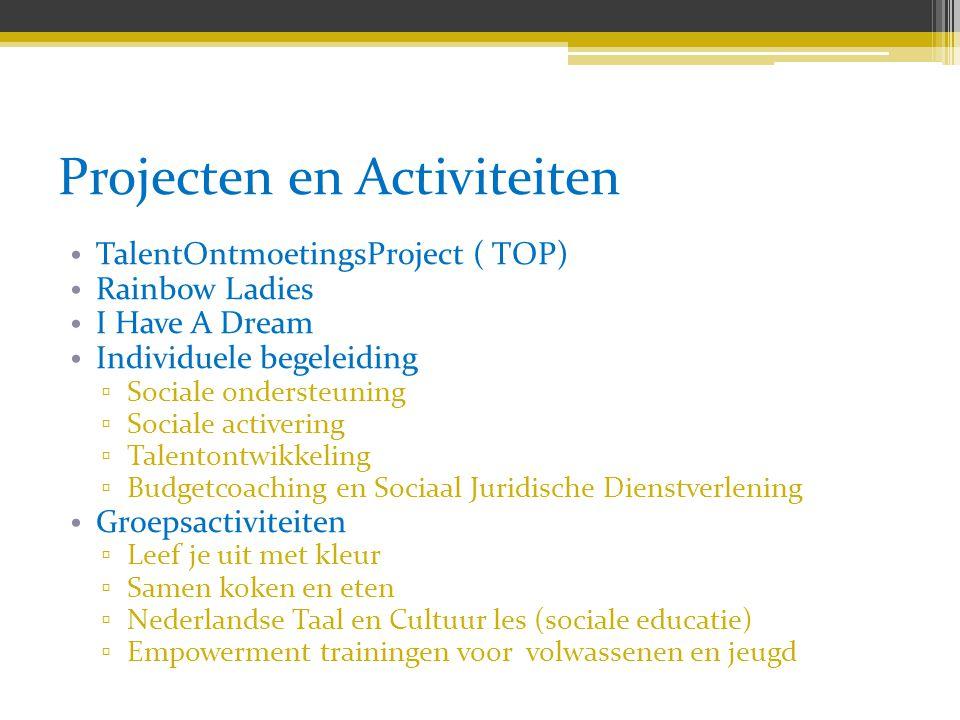 Projecten en Activiteiten TalentOntmoetingsProject ( TOP) Rainbow Ladies I Have A Dream Individuele begeleiding ▫ Sociale ondersteuning ▫ Sociale acti