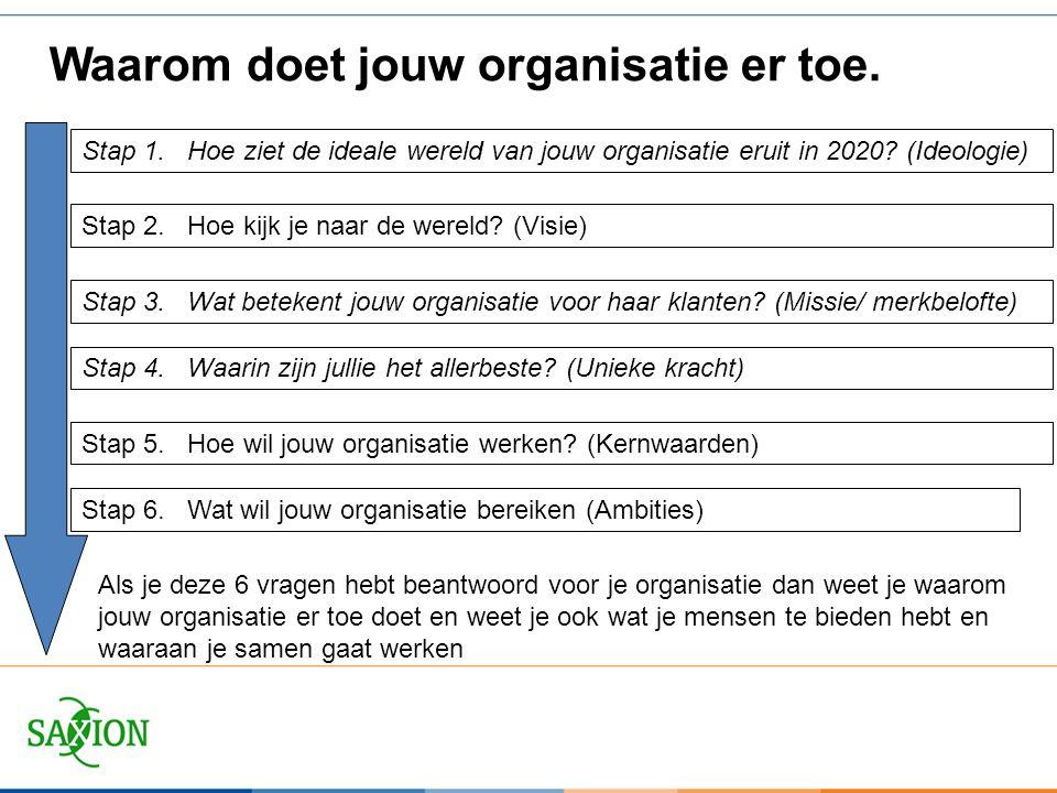 Stap 1.Hoe ziet de ideale wereld van jouw organisatie eruit in 2020? (Ideologie) Stap 2.Hoe kijk je naar de wereld? (Visie) Waarom doet jouw organisat