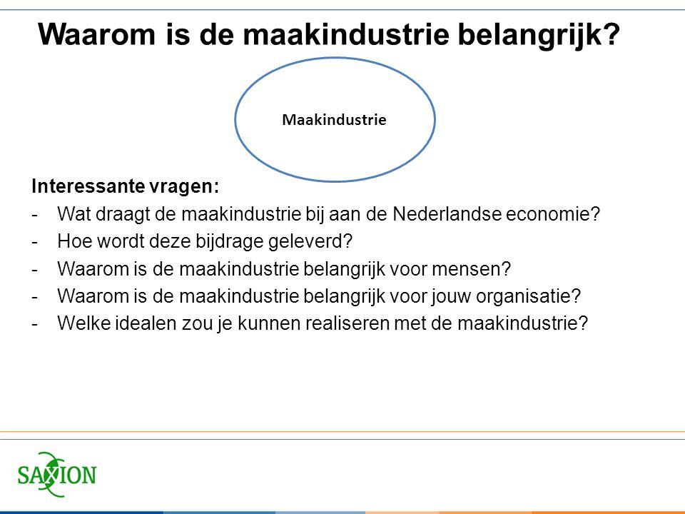Interessante vragen: -Wat draagt de maakindustrie bij aan de Nederlandse economie? -Hoe wordt deze bijdrage geleverd? -Waarom is de maakindustrie bela