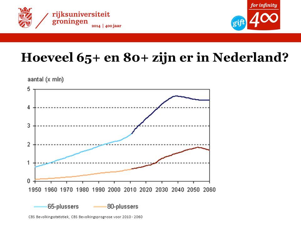 CBS Bevolkingsstatistiek, CBS Bevolkingsprognose voor 2010 - 2060 Hoeveel 65+ en 80+ zijn er in Nederland