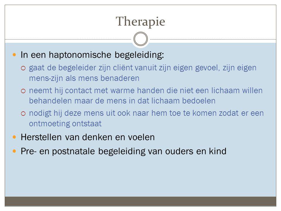 Therapie In een haptonomische begeleiding:  gaat de begeleider zijn cliënt vanuit zijn eigen gevoel, zijn eigen mens-zijn als mens benaderen  neemt
