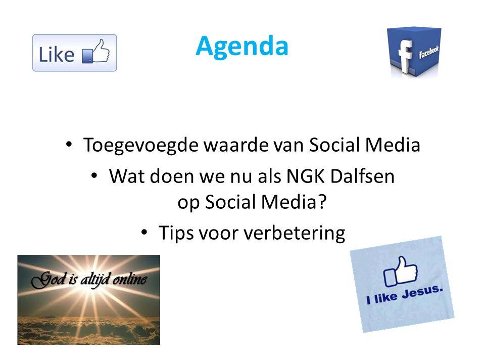Agenda Toegevoegde waarde van Social Media Wat doen we nu als NGK Dalfsen op Social Media.