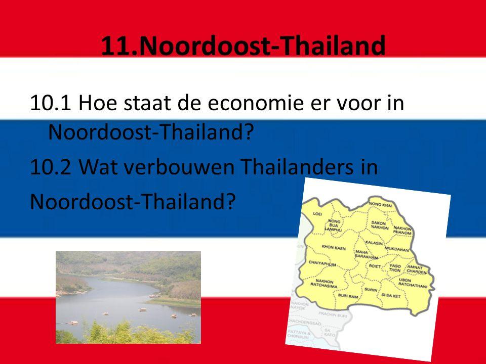 11.Noordoost-Thailand 10.1 Hoe staat de economie er voor in Noordoost-Thailand? 10.2 Wat verbouwen Thailanders in Noordoost-Thailand?