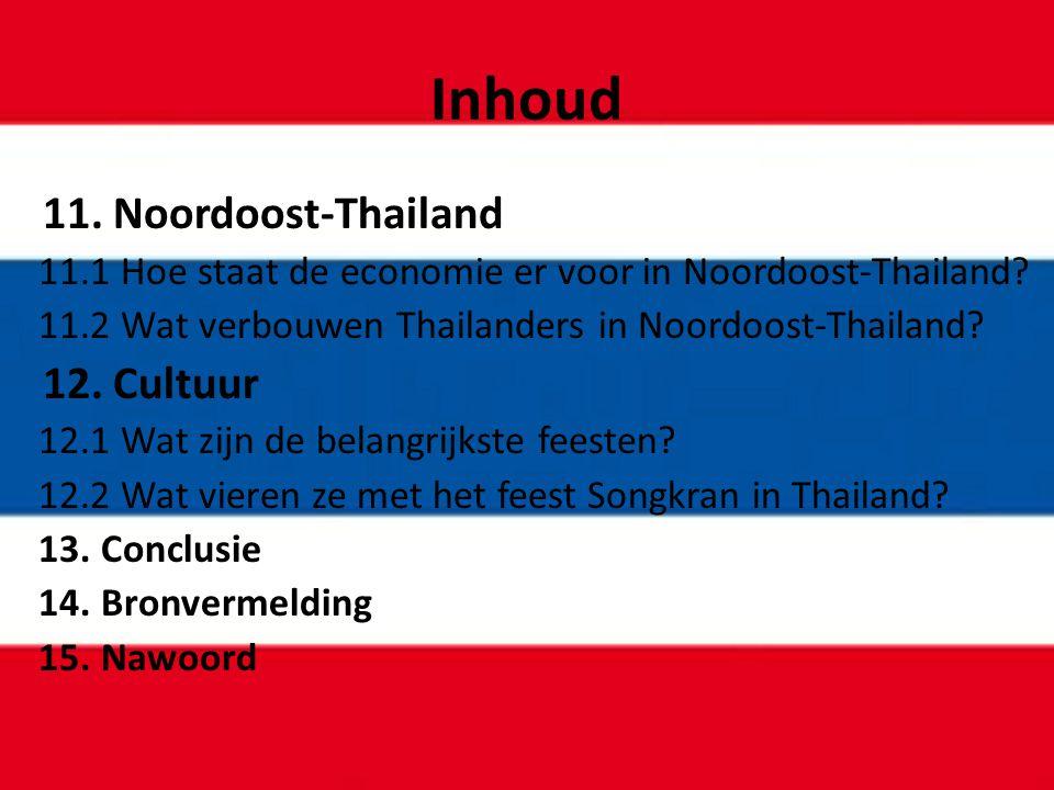 Inhoud 11. Noordoost-Thailand 11.1 Hoe staat de economie er voor in Noordoost-Thailand? 11.2 Wat verbouwen Thailanders in Noordoost-Thailand? 12. Cult