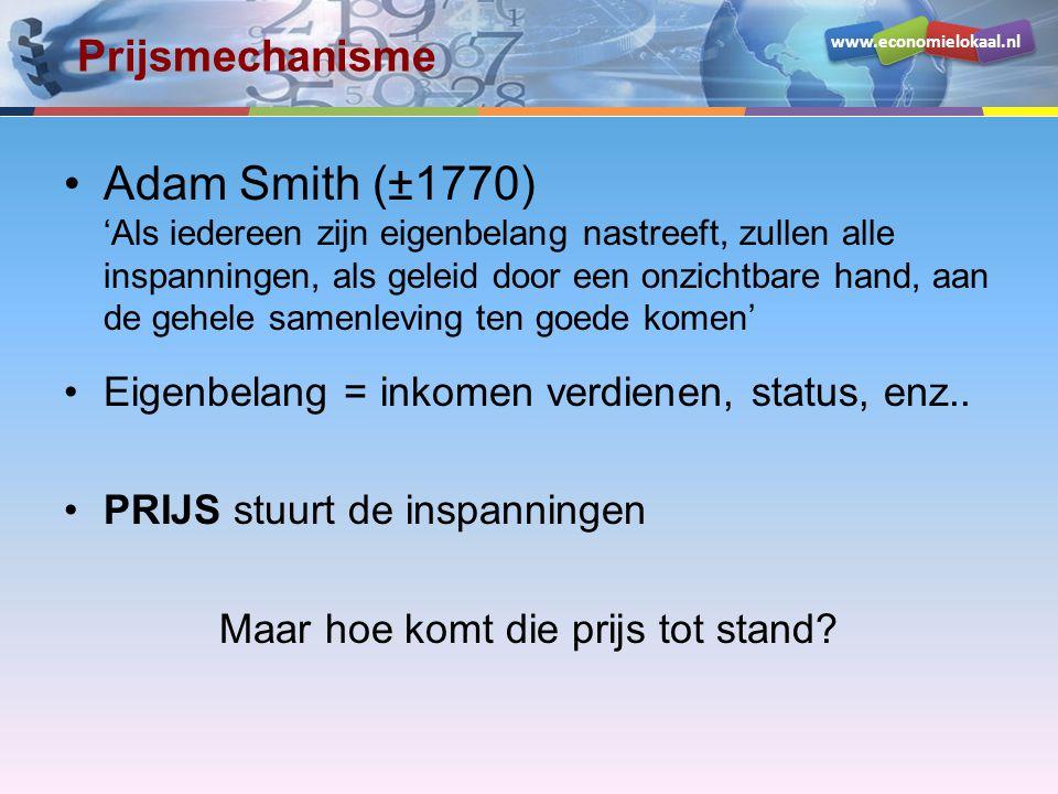 www.economielokaal.nl Prijsmechanisme Adam Smith (±1770) 'Als iedereen zijn eigenbelang nastreeft, zullen alle inspanningen, als geleid door een onzichtbare hand, aan de gehele samenleving ten goede komen' Eigenbelang = inkomen verdienen, status, enz..