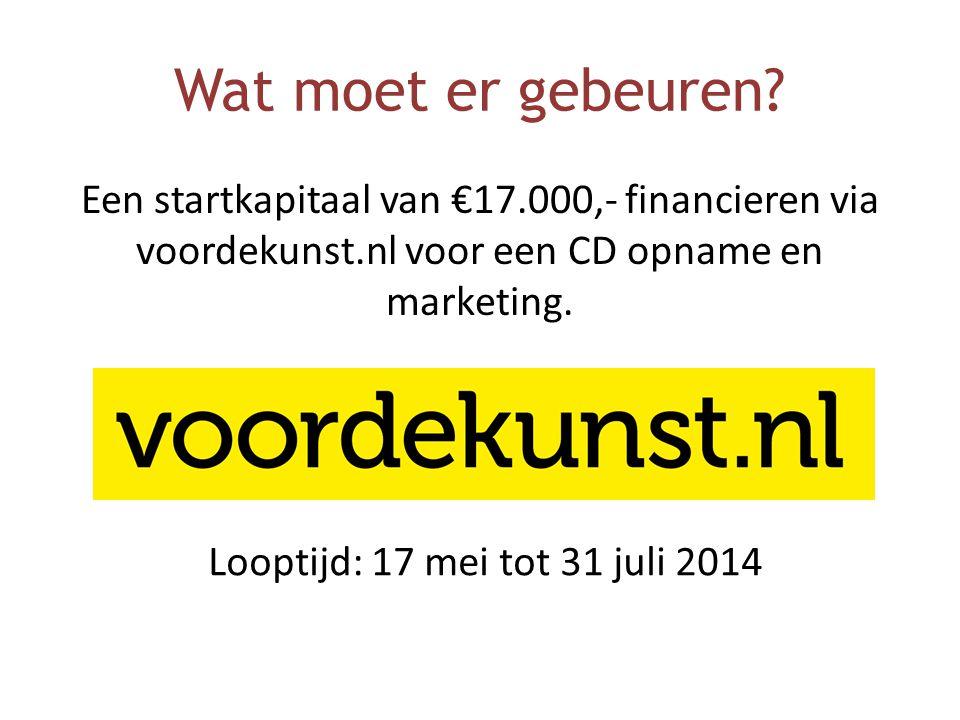 Wat moet er gebeuren? Een startkapitaal van €17.000,- financieren via voordekunst.nl voor een CD opname en marketing. Looptijd: 17 mei tot 31 juli 201