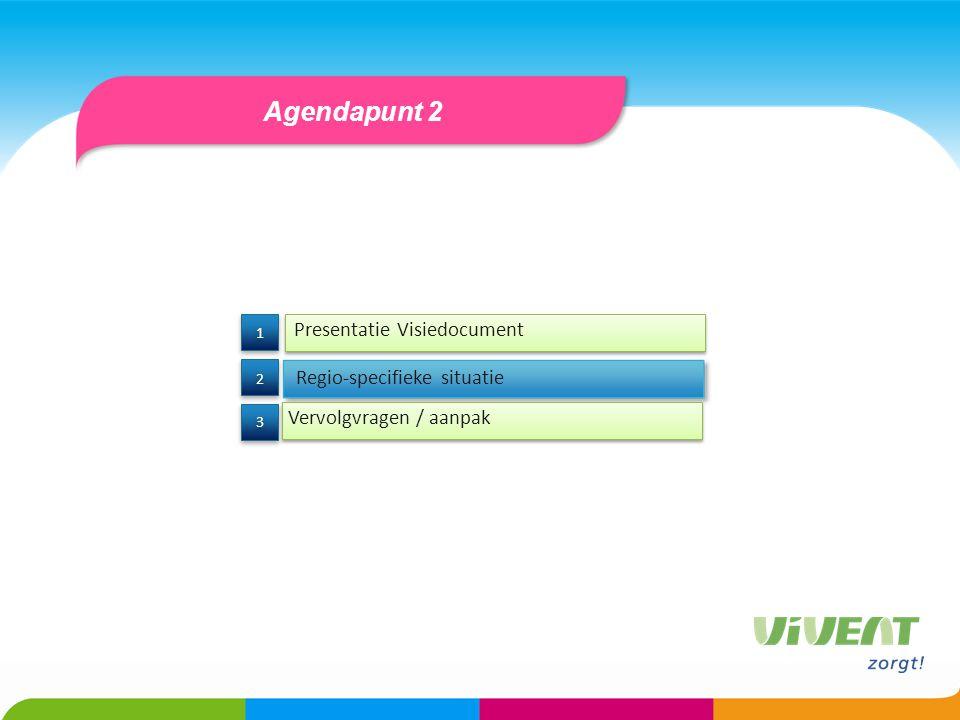 Agendapunt 2 Presentatie Visiedocument Regio-specifieke situatie 3 3 2 2 1 1 Vervolgvragen / aanpak