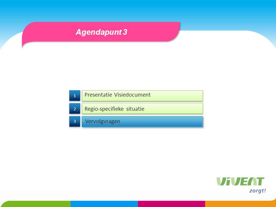 Agendapunt 3 Presentatie Visiedocument Regio-specifieke situatie 3 3 2 2 1 1 Vervolgvragen