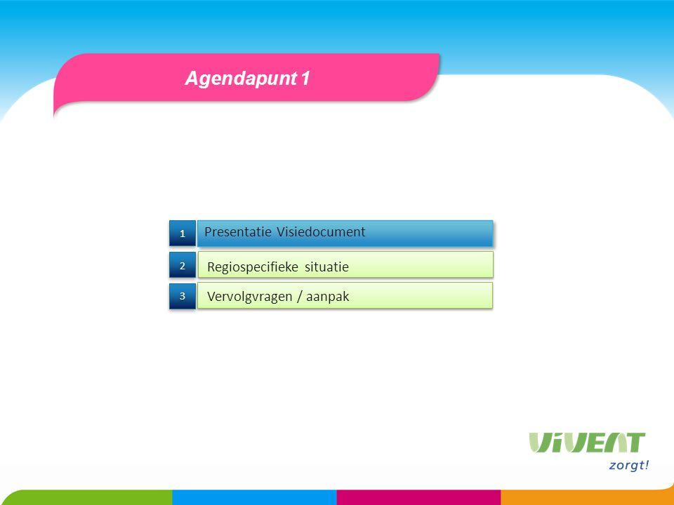 Agendapunt 1 Presentatie Visiedocument Regiospecifieke situatie 3 3 2 2 1 1 Vervolgvragen / aanpak