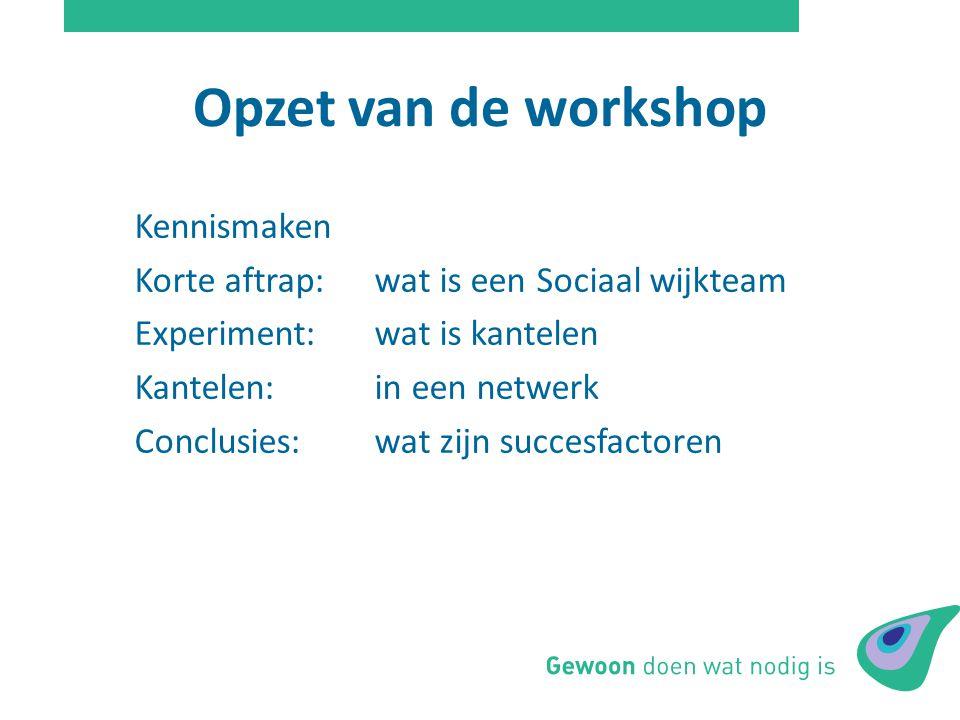 Opzet van de workshop Kennismaken Korte aftrap: wat is een Sociaal wijkteam Experiment: wat is kantelen Kantelen:in een netwerk Conclusies: wat zijn s