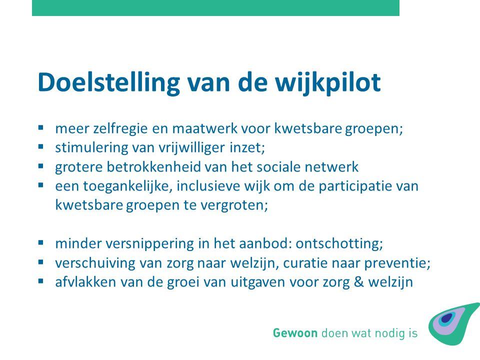 Doelstelling van de wijkpilot  meer zelfregie en maatwerk voor kwetsbare groepen;  stimulering van vrijwilliger inzet;  grotere betrokkenheid van h