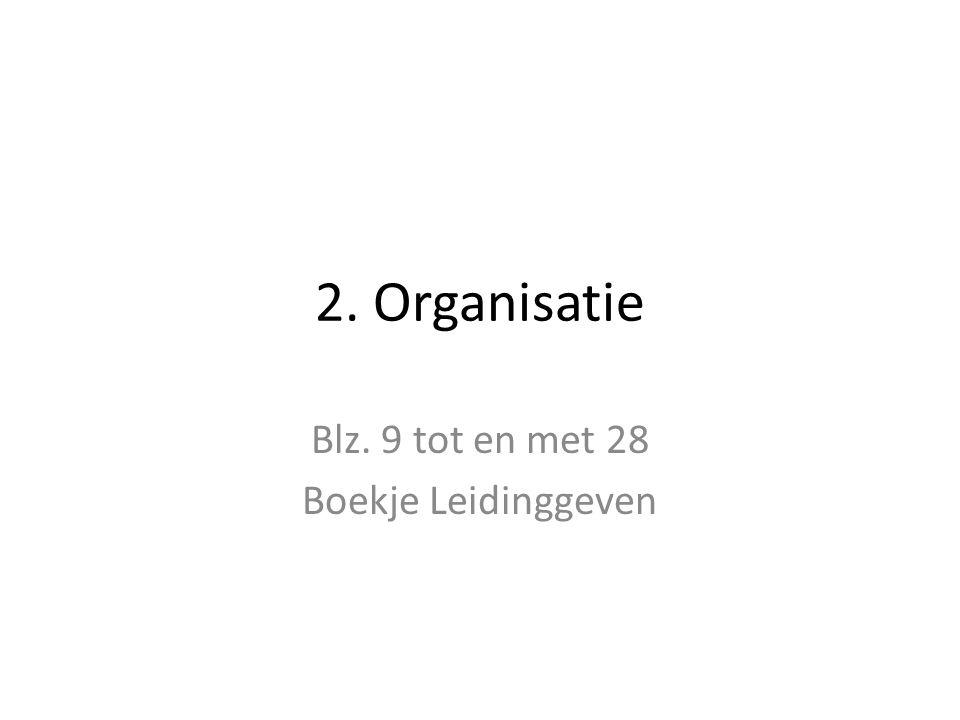 2. Organisatie Blz. 9 tot en met 28 Boekje Leidinggeven