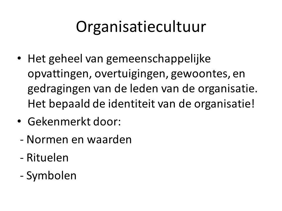 Organisatiecultuur Het geheel van gemeenschappelijke opvattingen, overtuigingen, gewoontes, en gedragingen van de leden van de organisatie. Het bepaal