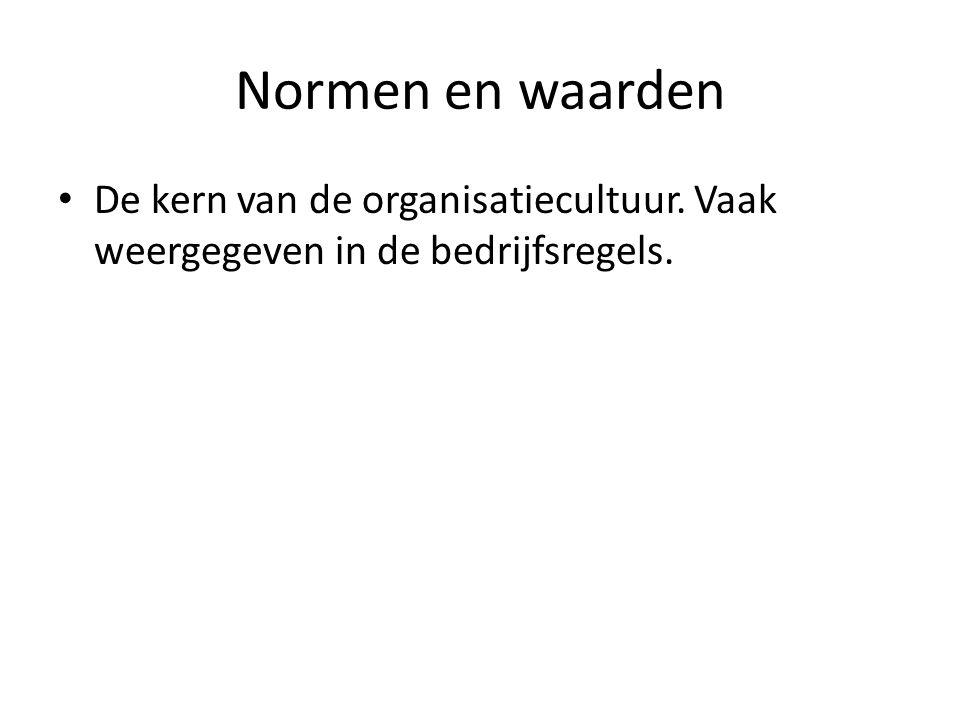 Normen en waarden De kern van de organisatiecultuur. Vaak weergegeven in de bedrijfsregels.