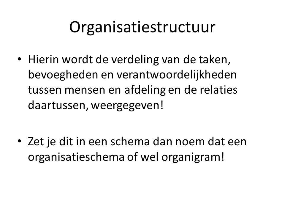 Organisatiestructuur Hierin wordt de verdeling van de taken, bevoegheden en verantwoordelijkheden tussen mensen en afdeling en de relaties daartussen,