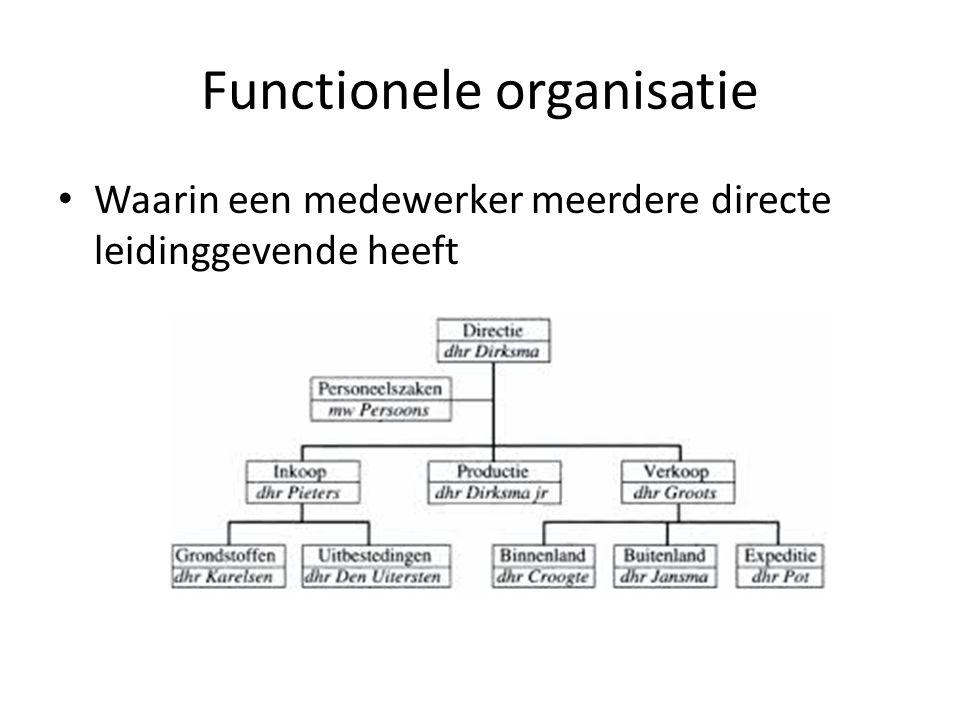 Functionele organisatie Waarin een medewerker meerdere directe leidinggevende heeft