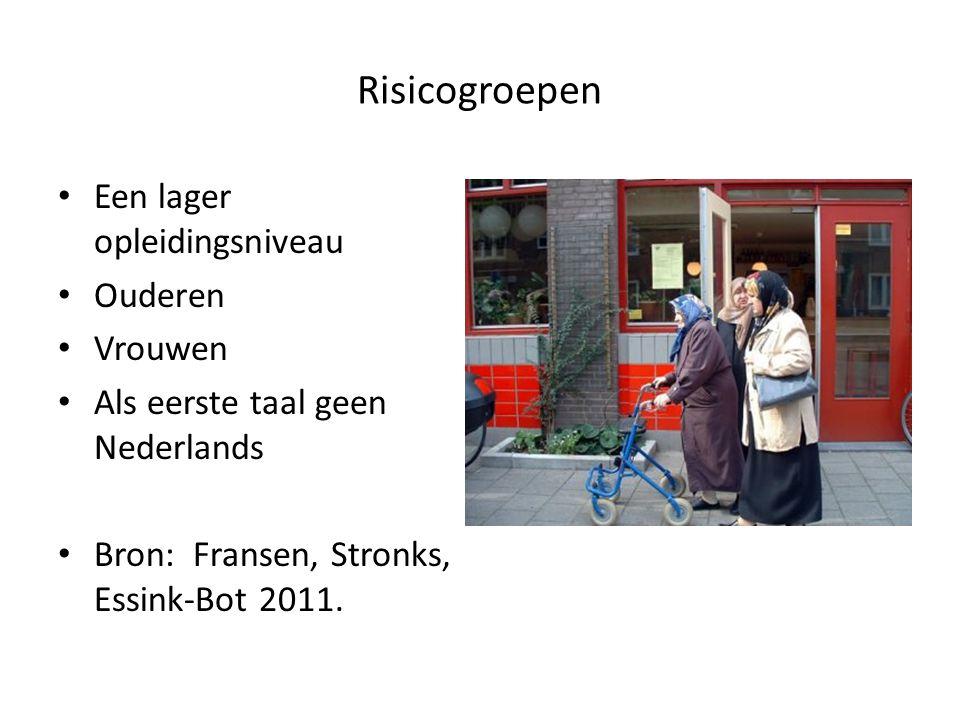Risicogroepen Een lager opleidingsniveau Ouderen Vrouwen Als eerste taal geen Nederlands Bron: Fransen, Stronks, Essink-Bot 2011.