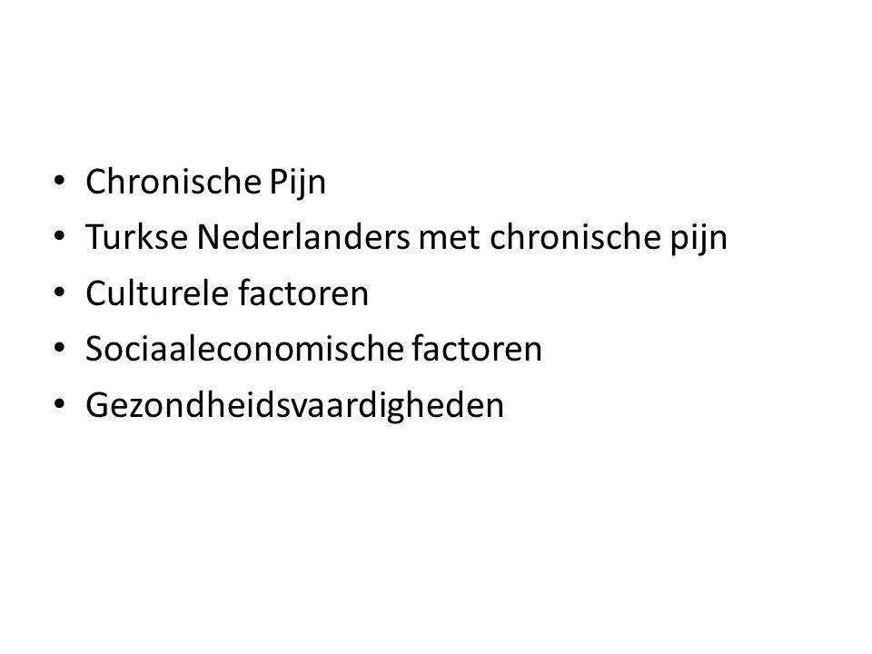 Chronische Pijn Turkse Nederlanders met chronische pijn Culturele factoren Sociaaleconomische factoren Gezondheidsvaardigheden