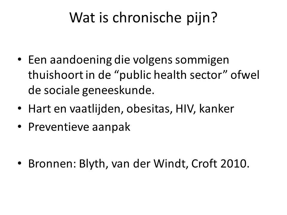 """Wat is chronische pijn? Een aandoening die volgens sommigen thuishoort in de """"public health sector"""" ofwel de sociale geneeskunde. Hart en vaatlijden,"""