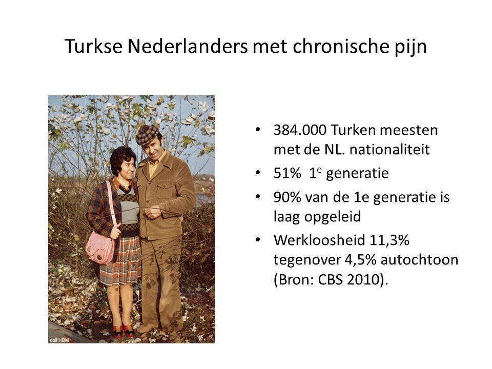 Turkse Nederlanders met chronische pijn 384.000 Turken meesten met de NL. nationaliteit 51% 1 e generatie 90% van de 1e generatie is laag opgeleid Wer