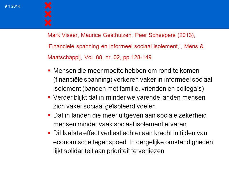 Mark Visser, Maurice Gesthuizen, Peer Scheepers (2013), 'Financiële spanning en informeel sociaal isolement,', Mens & Maatschappij, Vol. 88, nr. 02, p