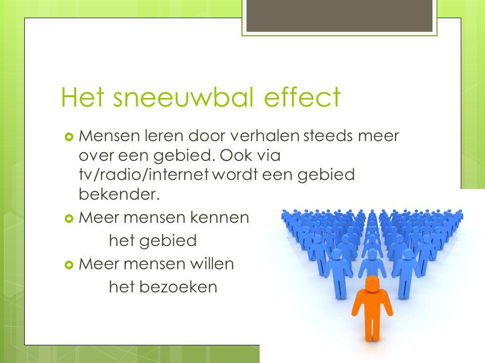 Het sneeuwbal effect  Mensen leren door verhalen steeds meer over een gebied. Ook via tv/radio/internet wordt een gebied bekender.  Meer mensen kenn