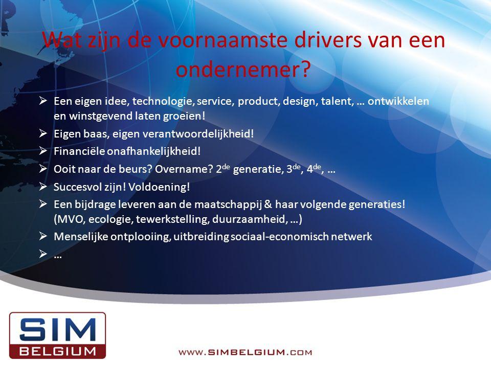 Wat zijn de voornaamste drivers van een ondernemer.