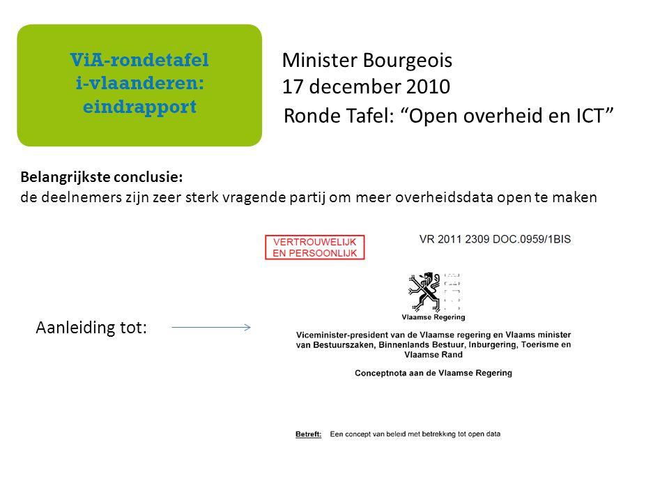 Belangrijkste conclusie: de deelnemers zijn zeer sterk vragende partij om meer overheidsdata open te maken Minister Bourgeois 17 december 2010 Ronde T