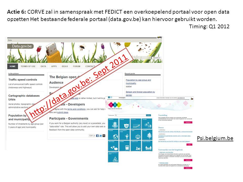 http://data.gov.be: Sept 2011 Psi.belgium.be Actie 6: CORVE zal in samenspraak met FEDICT een overkoepelend portaal voor open data opzetten Het bestaa