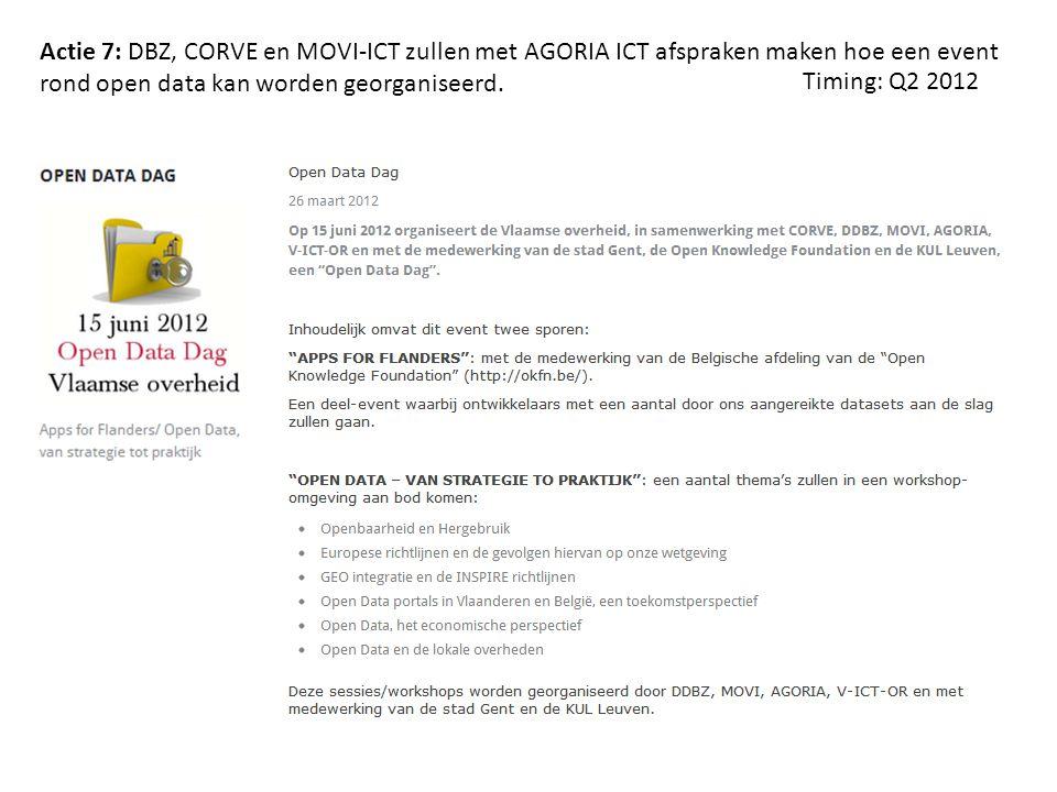 Actie 7: DBZ, CORVE en MOVI-ICT zullen met AGORIA ICT afspraken maken hoe een event rond open data kan worden georganiseerd. Timing: Q2 2012