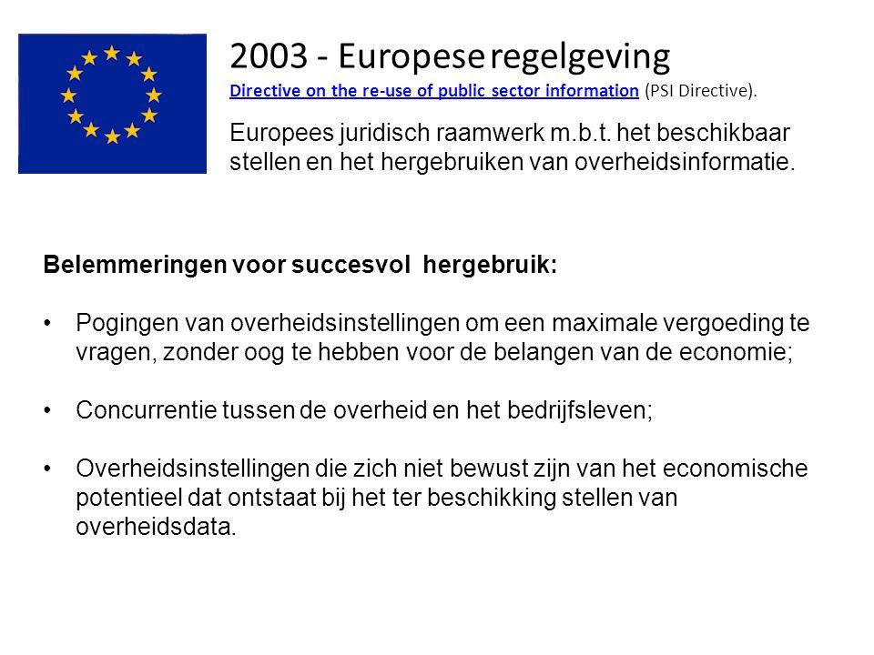 Europees juridisch raamwerk m.b.t. het beschikbaar stellen en het hergebruiken van overheidsinformatie. 2003 - Europese regelgeving Directive on the r