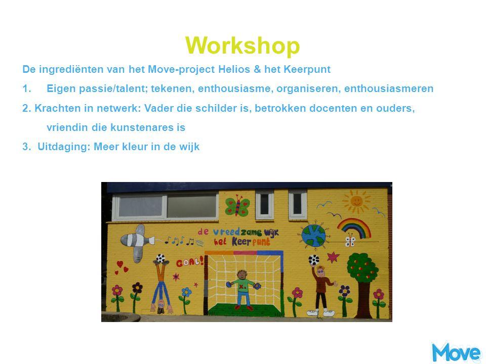 Workshop De ingrediënten van het Move-project Helios & het Keerpunt 1. Eigen passie/talent; tekenen, enthousiasme, organiseren, enthousiasmeren 2. Kra