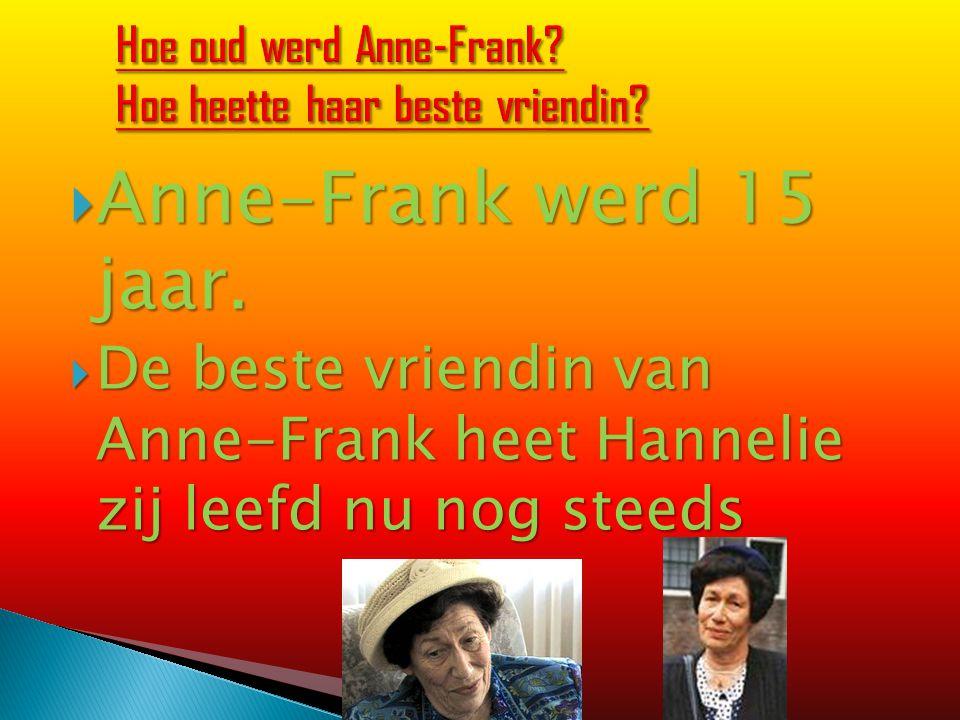  Anne-Frank werd 15 jaar.  De beste vriendin van Anne-Frank heet Hannelie zij leefd nu nog steeds