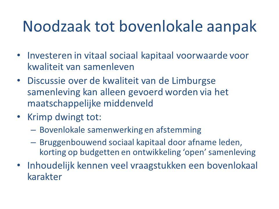 Noodzaak tot bovenlokale aanpak Investeren in vitaal sociaal kapitaal voorwaarde voor kwaliteit van samenleven Discussie over de kwaliteit van de Limb